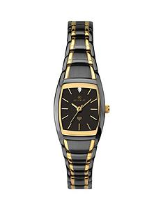 1600384609: Accurist Accurist Black and Gold Detail Diamond Set Dial Two Tone Stainless Steel Bracelet Ladies Watch