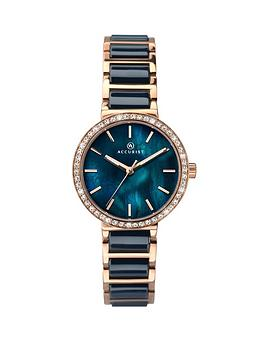 accurist-blue-mother-of-pearl-crystal-set-dial-rose-gold-and-blue-ceramic-bracelet-ladies-watch