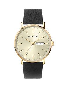 accurist-accurist-gold-daydate-dial-black-leather-strap-mens-watch