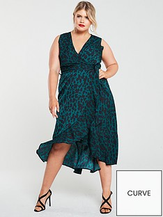 ax-paris-curve-animal-print-wrap-dress-green