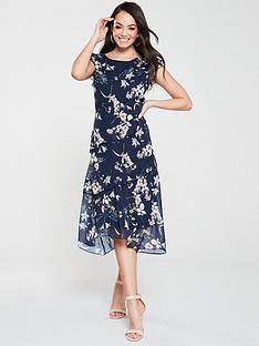 wallis-daisy-floral-ruffle-midi-dress-navy