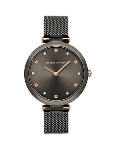 rebecca-minkoff-rebecca-minkoff-black-and-rose-gold-detail-dial-black-stainless-steel-mesh-strap-ladies-watch