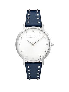 rebecca-minkoff-rebecca-minkoff-silver-dial-black-leather-studded-strap-ladies-watch