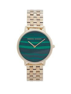 rebecca-minkoff-rebecca-minkoff-green-mother-of-pearl-dial-gold-stainless-steel-bracelet-ladies-watch