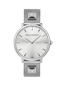 rebecca-minkoff-rebecca-minkoff-silver-sunray-dial-studded-stainless-steel-mesh-strap-ladies-watch