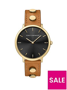 rebecca-minkoff-rebecca-minkoff-black-dial-dial-gold-studded-stainless-steel-mesh-strap-ladies-watch