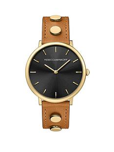 rebecca-minkoff-rebecca-minkoff-black-sunray-and-gold-detail-dial-brown-leather-and-gold-studded-strap-ladies-watch