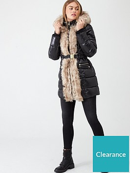 river-island-river-island-faux-fur-front-high-shine-padded-jacket-black