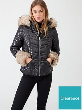 river-island-river-island-faux-fur-cuff-padded-jacket-black