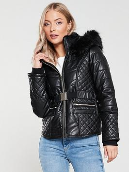 river-island-river-island-belted-padded-pu-jacket-black