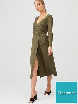 v-by-very-belted-wrap-midi-dress-khaki