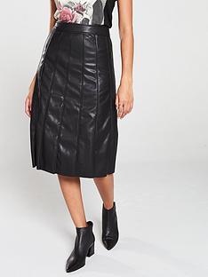 religion-faux-leather-midi-skirt-black