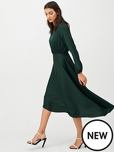v-by-very-blouson-sleeve-satin-midi-dress-green