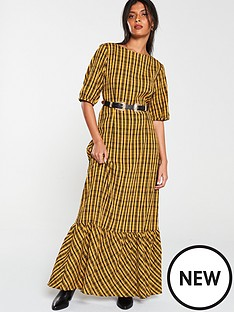 v-by-very-check-midaxi-dress-mustard-yellow