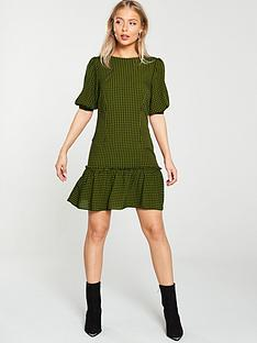 v-by-very-check-mini-dress-khaki