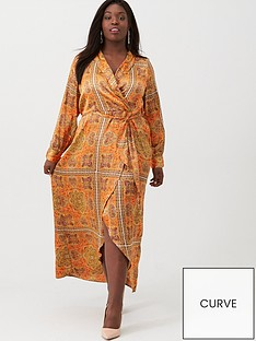 v-by-very-curve-scarf-print-plunge-dress-orange
