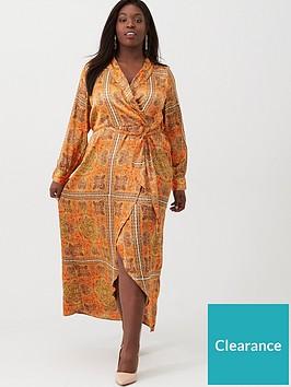 v-by-very-curve-scarf-print-plunge-dress-orange