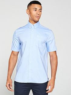 fred-perry-short-sleeved-oxford-shirt-blue