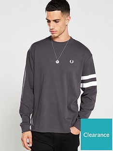 fred-perry-tipped-sleeve-sweatshirt-grey