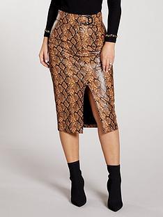 kate-wright-high-waist-buckle-pu-midi-skirt--snake
