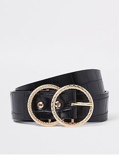 river-island-river-island-croc-textured-double-ring-belt-black