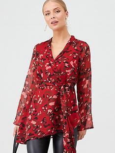 v-by-very-animal-wrap-longline-blouse-redprint