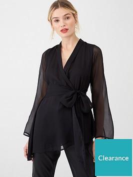 v-by-very-waterfall-hem-wrap-blouse-black
