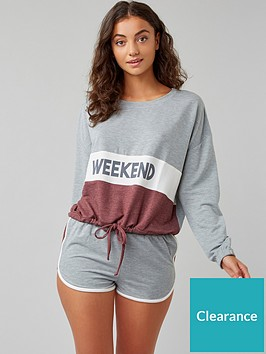 boux-avenue-weekend-top-amp-short-set-grey-marl