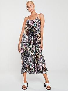 river-island-river-island-printed-pleated-maxi-dress-black