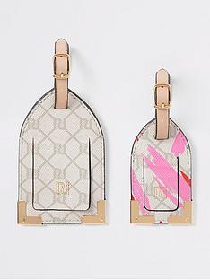 river-island-river-island-monogram-luggage-tag-light-pink