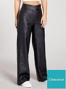 kate-wright-high-waist-buckle-pu-trousers-black