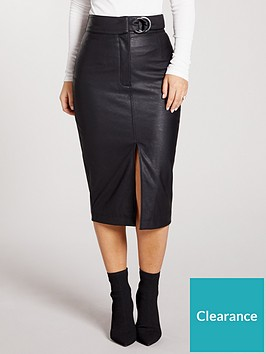 kate-wright-high-waist-buckle-pu-midi-skirt-black