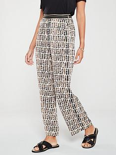 river-island-river-island-printed-wide-leg-trouser-brown