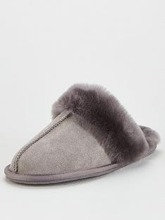 v-by-very-whistle-real-suede-sheepskin-slippers-grey
