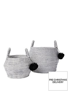 river-island-set-of-2-silver-handwoven-seagrass-baskets