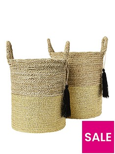 river-island-set-of-2-gold-handwoven-baskets