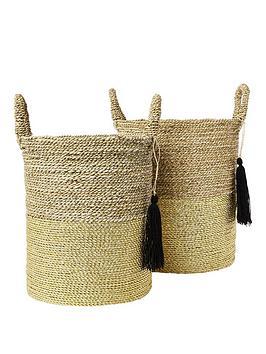 river-island-set-of-2-gold-handwoven-baskets