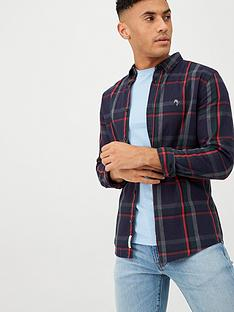 river-island-navy-check-print-long-sleeve-slim-fit-shirt