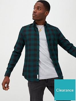 river-island-dark-green-check-slim-fit-long-sleeve-shirt
