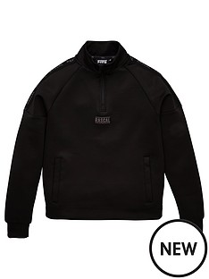 rascal-rascal-iridescent-tape-quarter-zip-funnel-neck-top-black