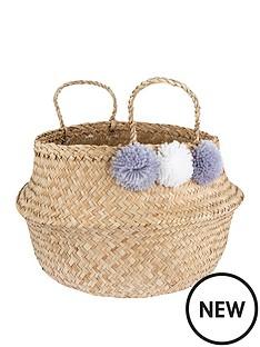 sass-belle-grey-pom-pom-basket