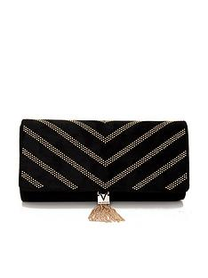 valentino-by-mario-valentino-dime-studded-tassel-clutch-bag-black