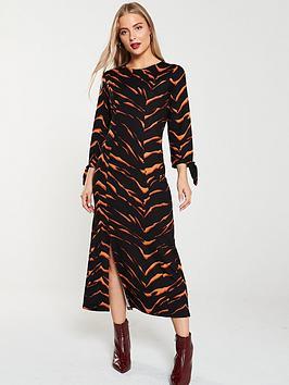 v-by-very-tiger-print-tie-sleeve-dress-multi