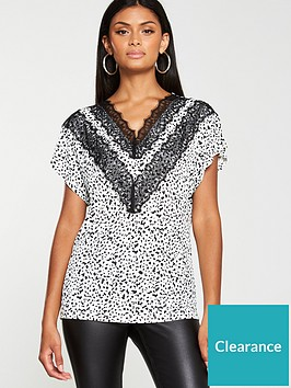v-by-very-lace-trim-batwing-printed-top-mono