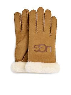 ugg-sheepskin-logo-gloves-chestnut