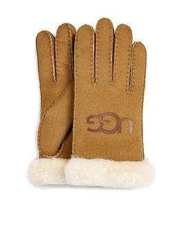 ugg-sheepskin-logo-gloves-chestnut