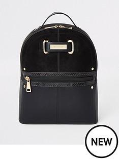 river-island-zip-front-backpack-black