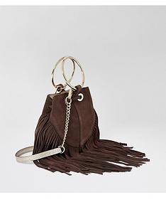 river-island-river-island-leather-fringed-mini-bucket-bag-chocolate