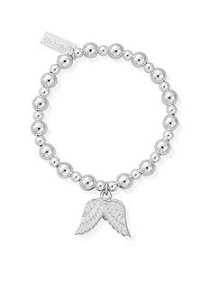 chlobo-childrens-mini-small-ball-double-angel-wing-bracelet-silver