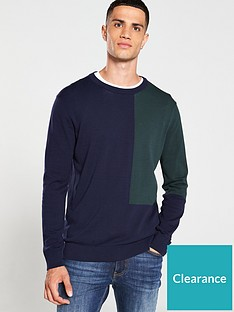 selected-homme-colour-block-crew-neck-jumper-bluegreen